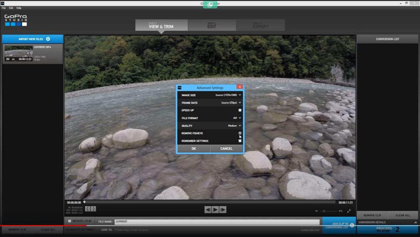 рыбий глаз на GoPro видео