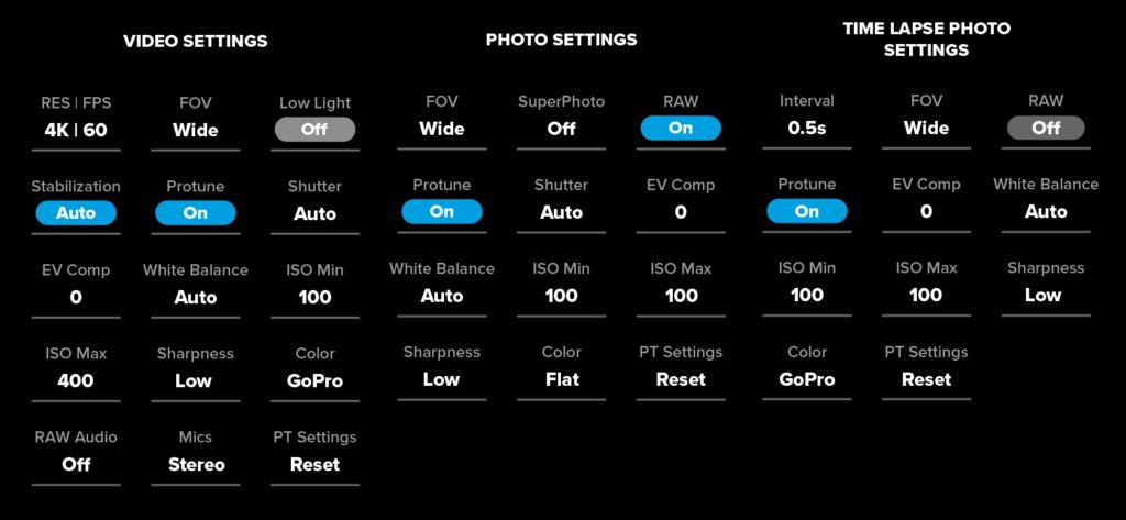 Подробные настройки для видео, фото и TimeLapse